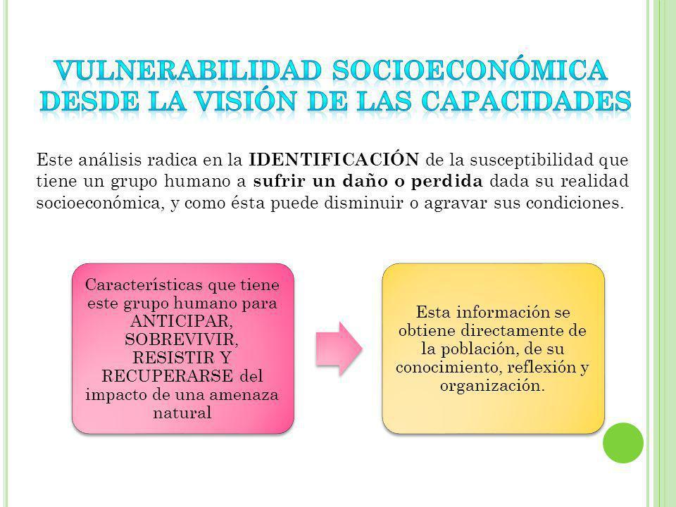 VULNERABILIDAD SOCIOECONÓMICA DESDE LA VISIÓN DE LAS CAPACIDADES