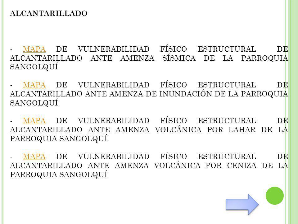 ALCANTARILLADO - MAPA DE VULNERABILIDAD FÍSICO ESTRUCTURAL DE ALCANTARILLADO ANTE AMENZA SÍSMICA DE LA PARROQUIA SANGOLQUÍ.