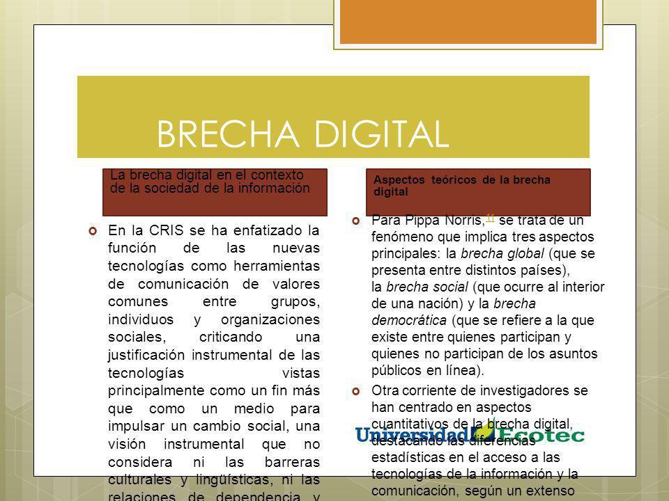 BRECHA DIGITAL La brecha digital en el contexto de la sociedad de la información. Aspectos teóricos de la brecha digital.