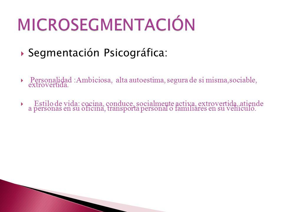 MICROSEGMENTACIÓN Segmentación Psicográfica: