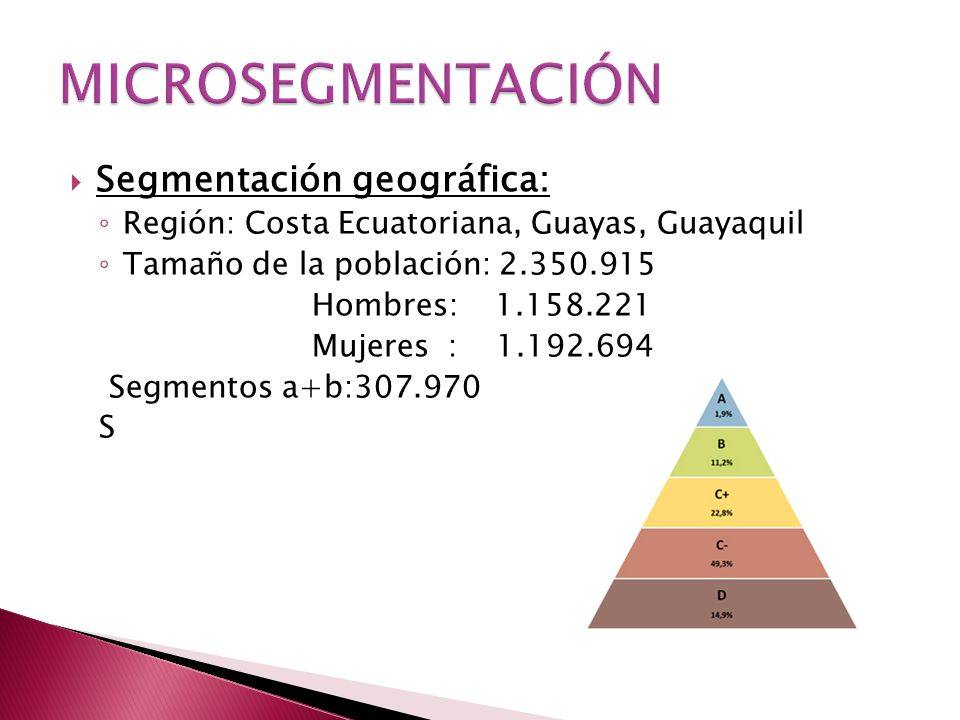 MICROSEGMENTACIÓN Segmentación geográfica: