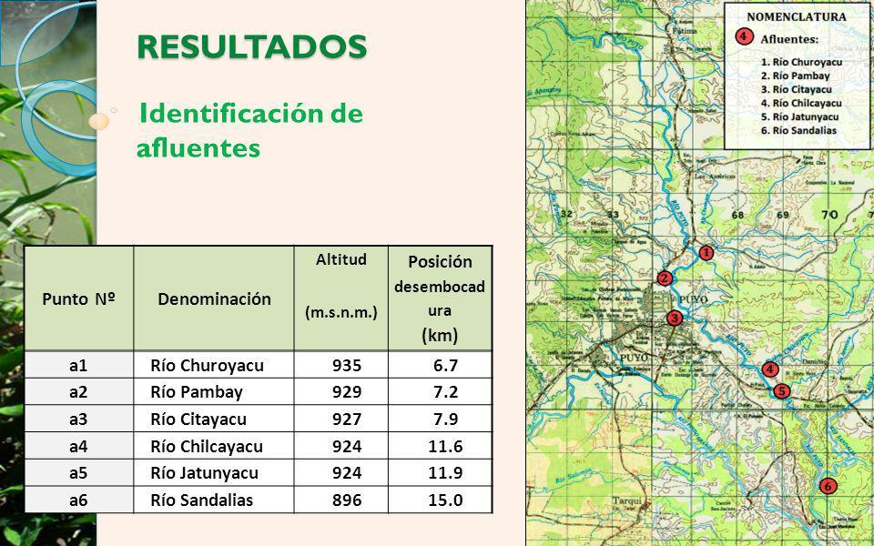 Identificación de afluentes