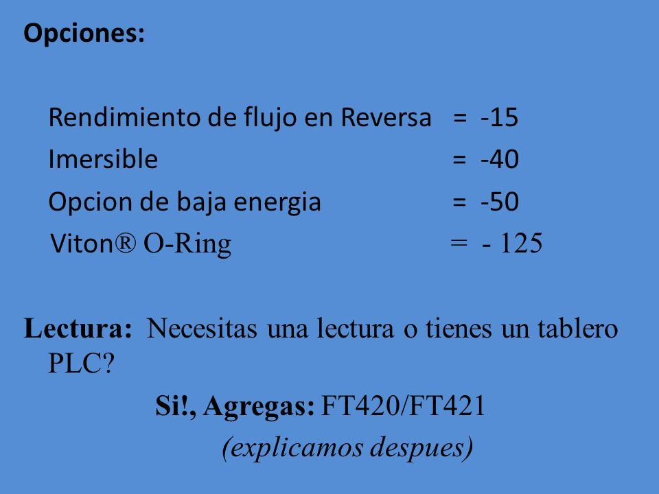 Opciones: Rendimiento de flujo en Reversa = -15 Imersible = -40 Opcion de baja energia = -50 Viton® O-Ring = - 125 Lectura: Necesitas una lectura o tienes un tablero PLC.