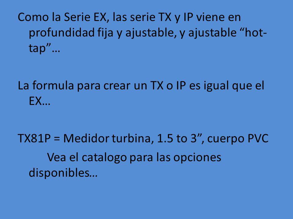 Como la Serie EX, las serie TX y IP viene en profundidad fija y ajustable, y ajustable hot-tap … La formula para crear un TX o IP es igual que el EX… TX81P = Medidor turbina, 1.5 to 3 , cuerpo PVC Vea el catalogo para las opciones disponibles…