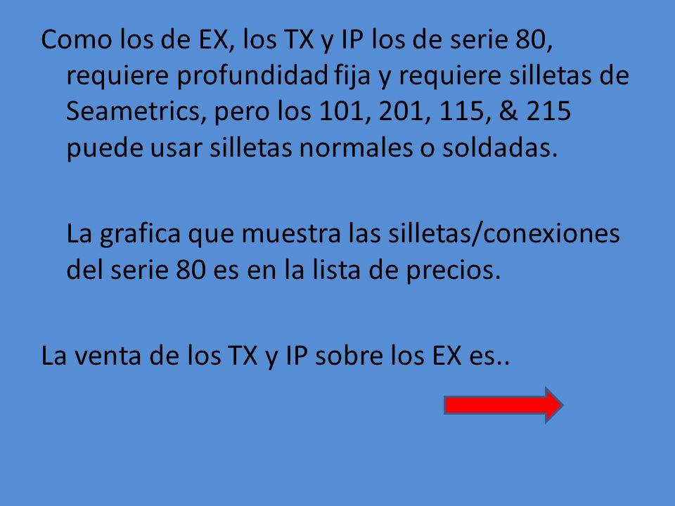 Como los de EX, los TX y IP los de serie 80, requiere profundidad fija y requiere silletas de Seametrics, pero los 101, 201, 115, & 215 puede usar silletas normales o soldadas.