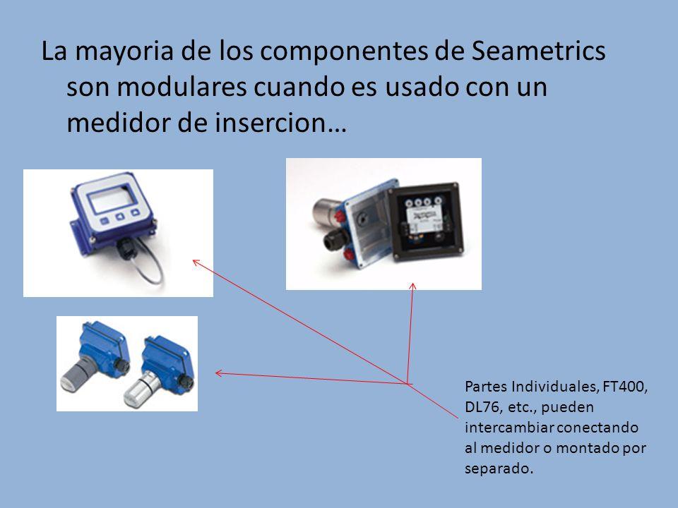 La mayoria de los componentes de Seametrics son modulares cuando es usado con un medidor de insercion…