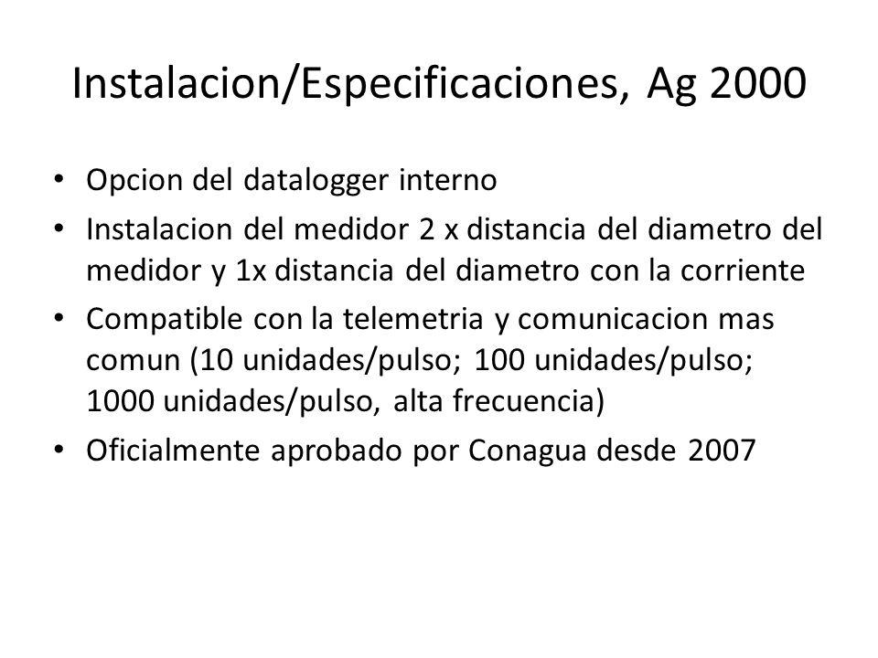 Instalacion/Especificaciones, Ag 2000