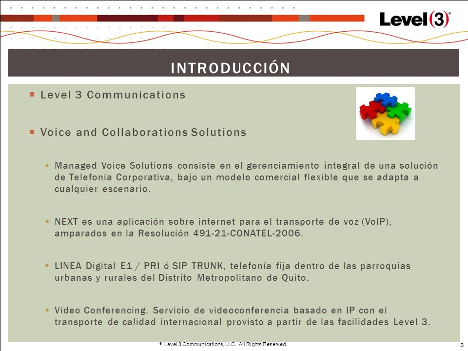 Introducción Level 3 Communications Voice and Collaborations Solutions