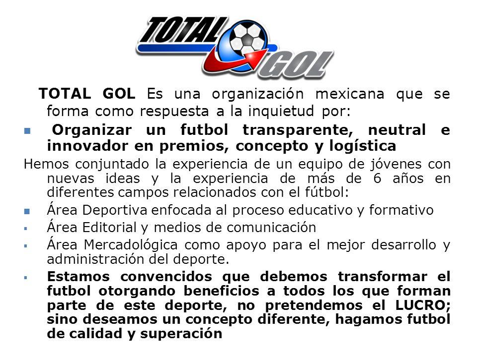 TOTAL GOL Es una organización mexicana que se forma como respuesta a la inquietud por: