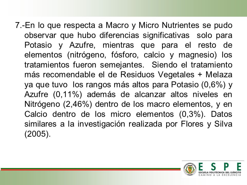7.-En lo que respecta a Macro y Micro Nutrientes se pudo observar que hubo diferencias significativas solo para Potasio y Azufre, mientras que para el resto de elementos (nitrógeno, fósforo, calcio y magnesio) los tratamientos fueron semejantes.