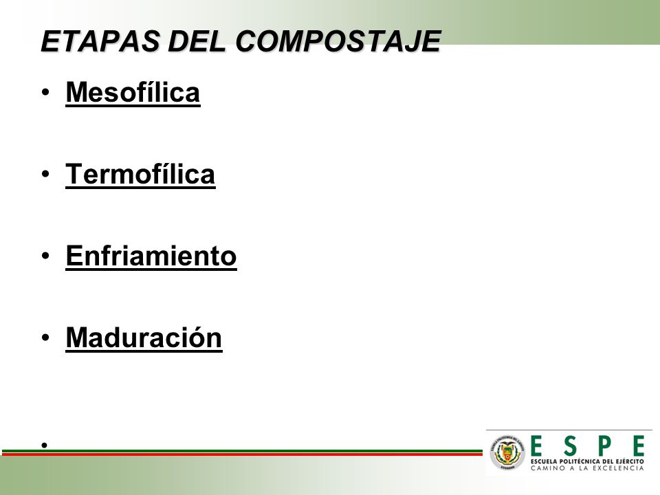 ETAPAS DEL COMPOSTAJE Mesofílica Termofílica Enfriamiento Maduración