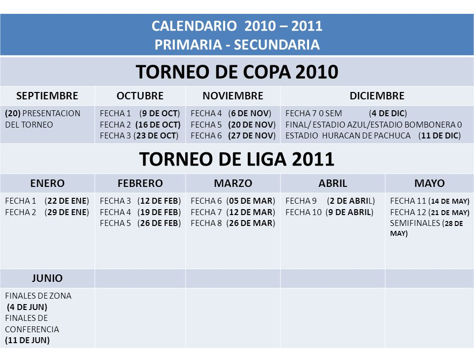 TORNEO DE COPA 2010 TORNEO DE LIGA 2011