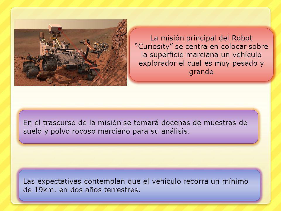 La misión principal del Robot Curiosity se centra en colocar sobre la superficie marciana un vehículo explorador el cual es muy pesado y grande