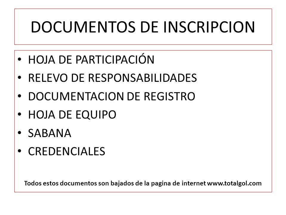 DOCUMENTOS DE INSCRIPCION
