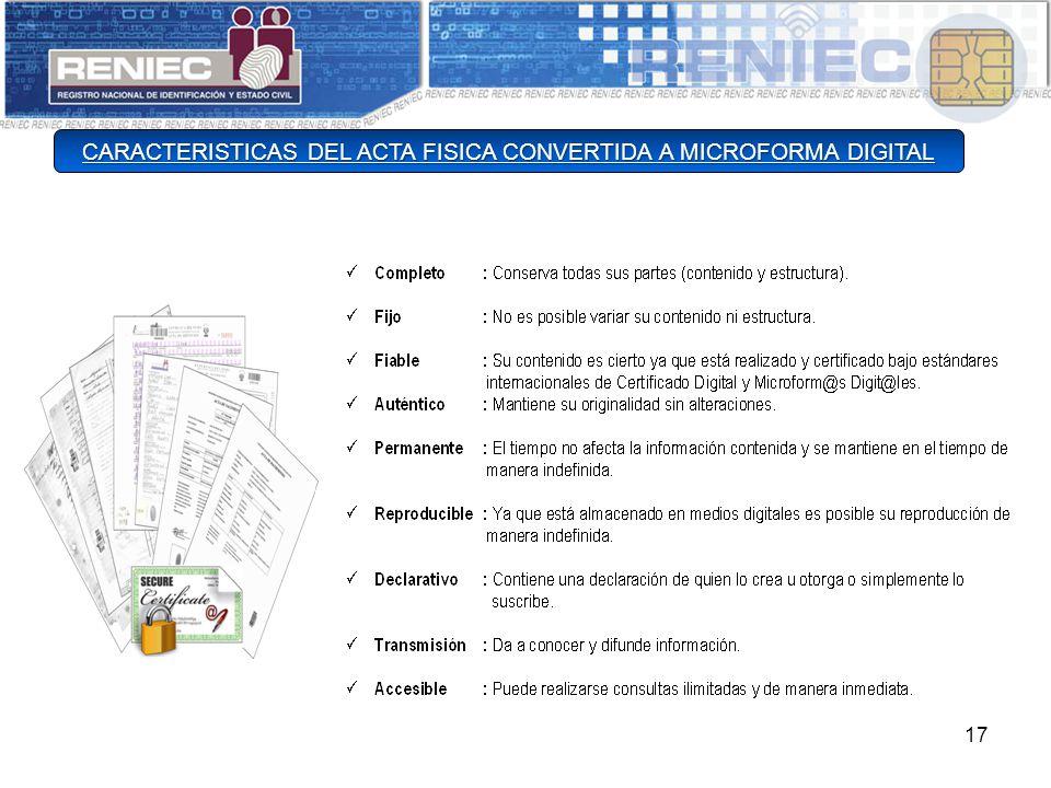 CARACTERISTICAS DEL ACTA FISICA CONVERTIDA A MICROFORMA DIGITAL