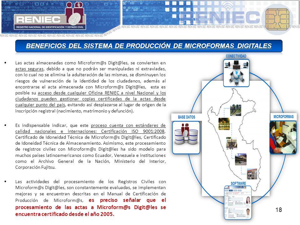 BENEFICIOS DEL SISTEMA DE PRODUCCIÓN DE MICROFORMAS DIGITALES