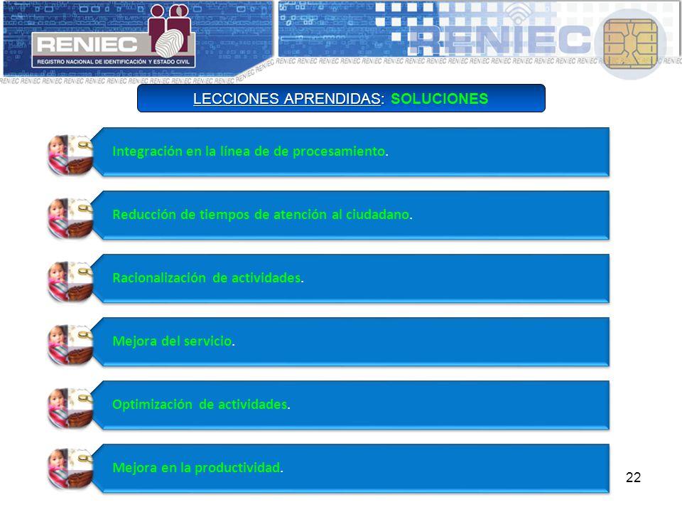LECCIONES APRENDIDAS: SOLUCIONES