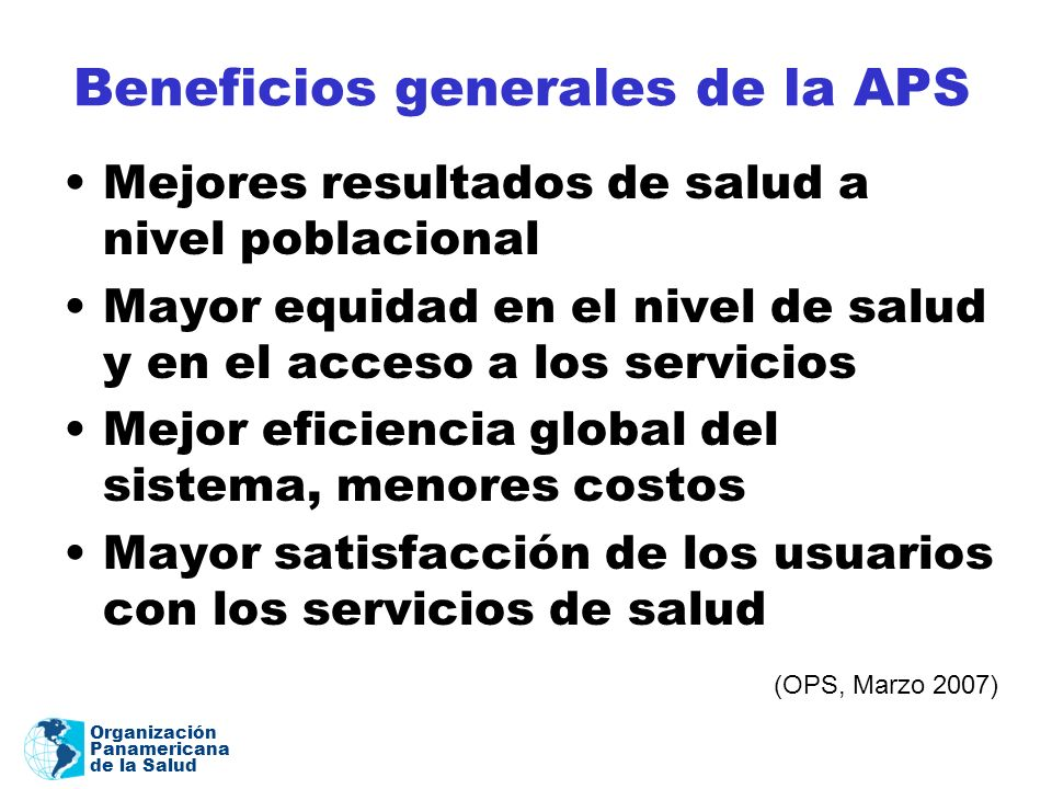 Beneficios generales de la APS