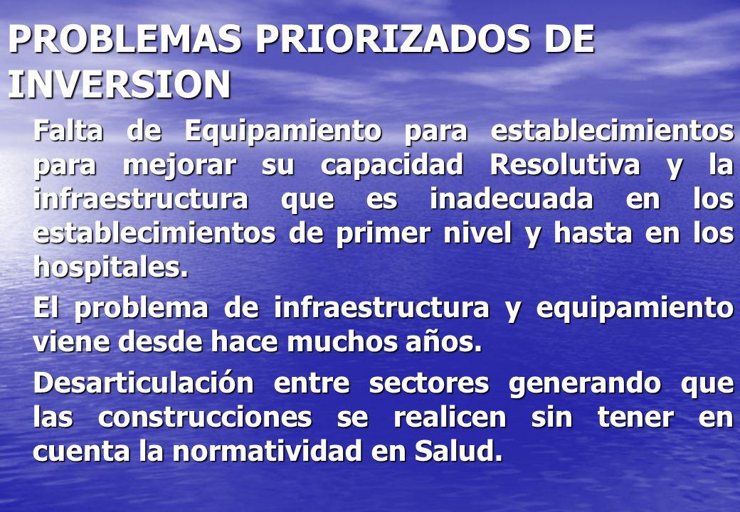 PROBLEMAS PRIORIZADOS DE INVERSION