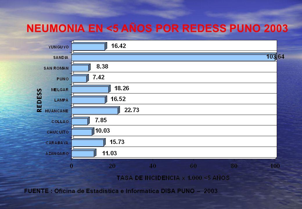NEUMONIA EN <5 AÑOS POR REDESS PUNO 2003