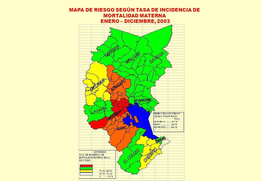 MAPA DE RIESGO SEGÚN TASA DE INCIDENCIA DE MORTALIDAD MATERNA