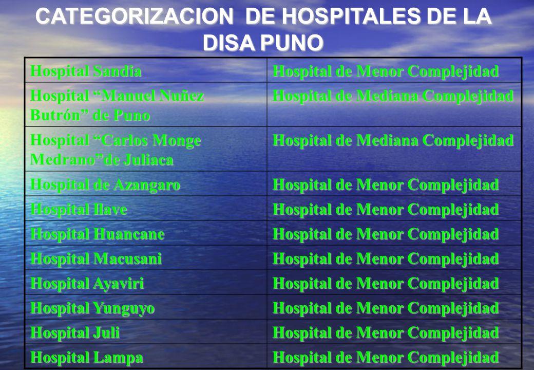 CATEGORIZACION DE HOSPITALES DE LA DISA PUNO