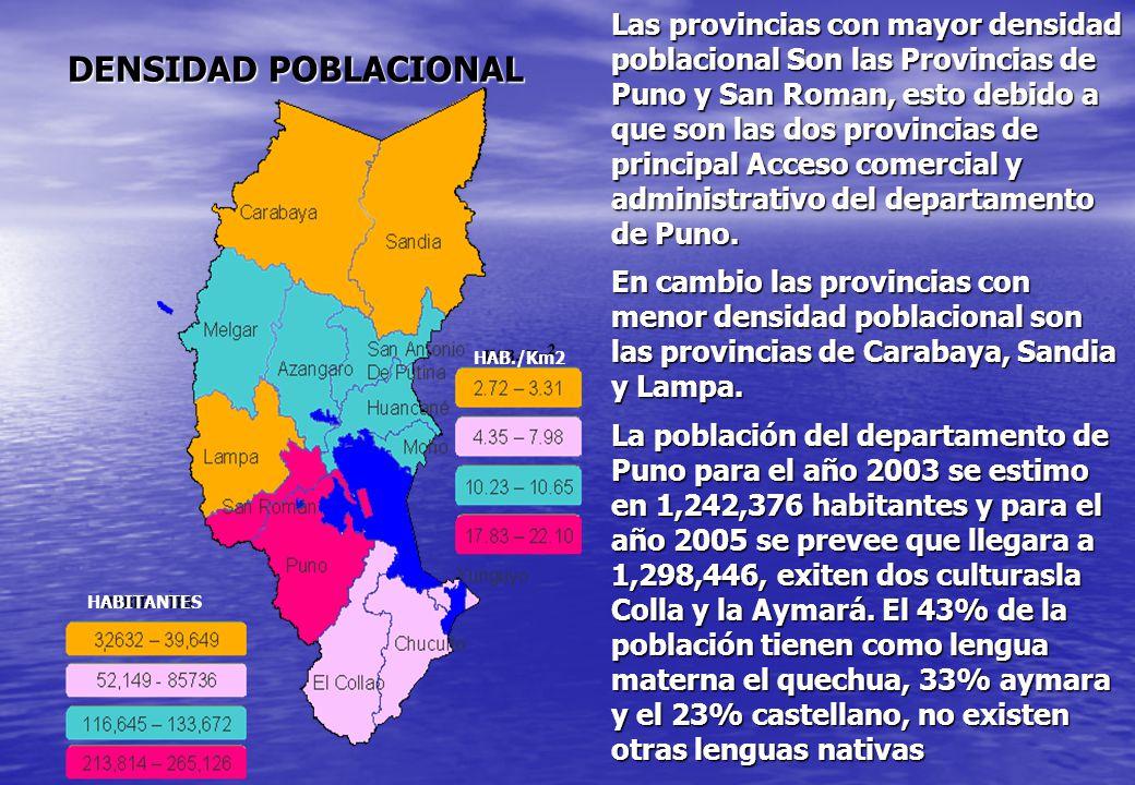 Las provincias con mayor densidad poblacional Son las Provincias de Puno y San Roman, esto debido a que son las dos provincias de principal Acceso comercial y administrativo del departamento de Puno.