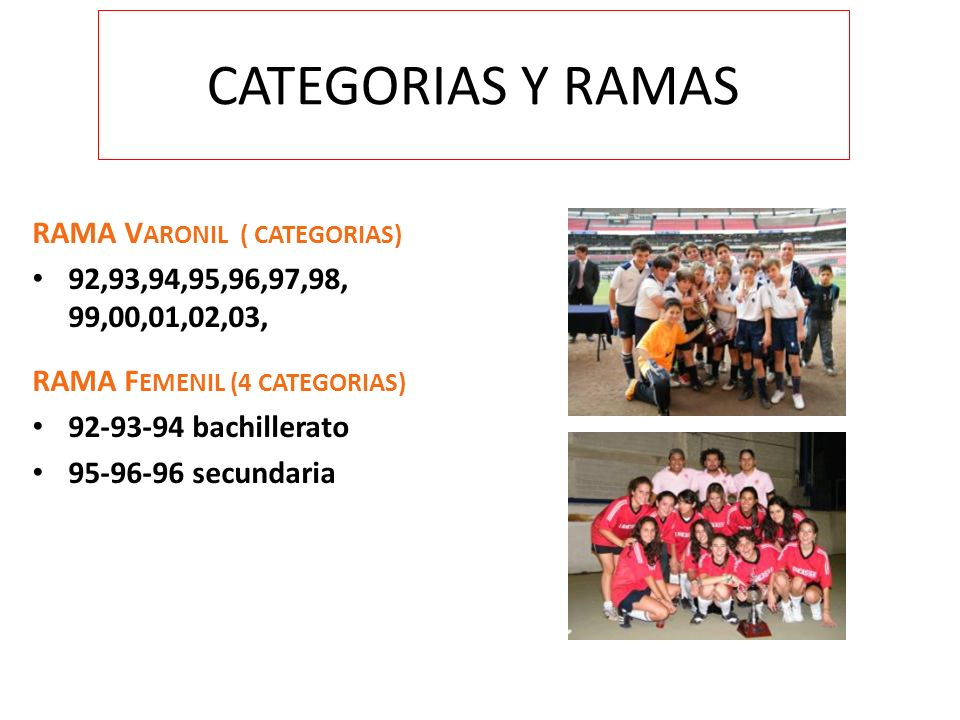 CATEGORIAS Y RAMAS RAMA VARONIL ( CATEGORIAS)