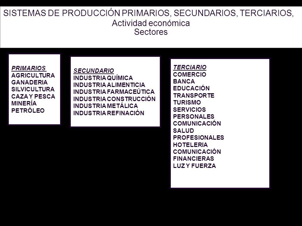SISTEMAS DE PRODUCCIÓN PRIMARIOS, SECUNDARIOS, TERCIARIOS,