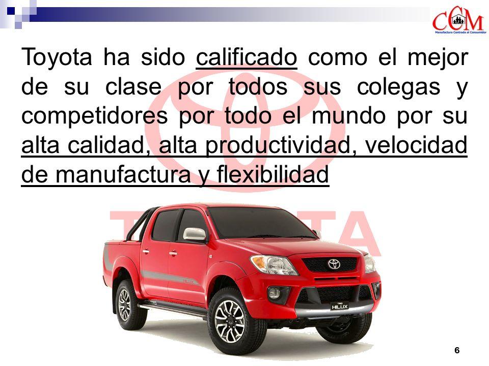 Toyota ha sido calificado como el mejor de su clase por todos sus colegas y competidores por todo el mundo por su alta calidad, alta productividad, velocidad de manufactura y flexibilidad