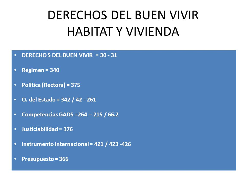 DERECHOS DEL BUEN VIVIR HABITAT Y VIVIENDA