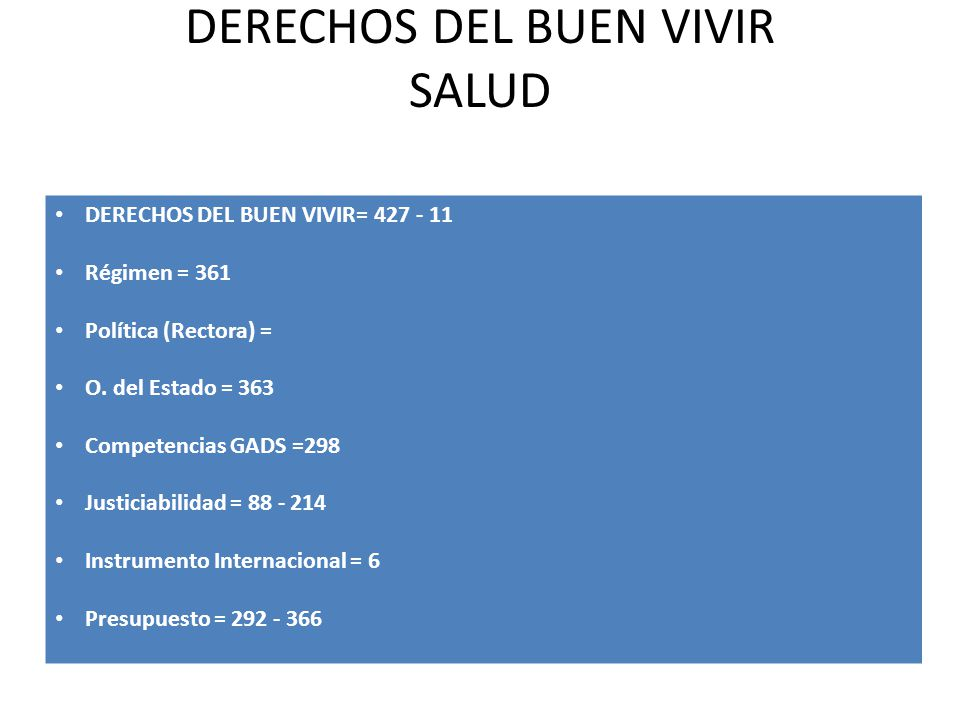 DERECHOS DEL BUEN VIVIR SALUD