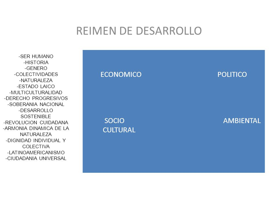 REIMEN DE DESARROLLO ECONOMICO POLITICO SOCIO AMBIENTAL CULTURAL