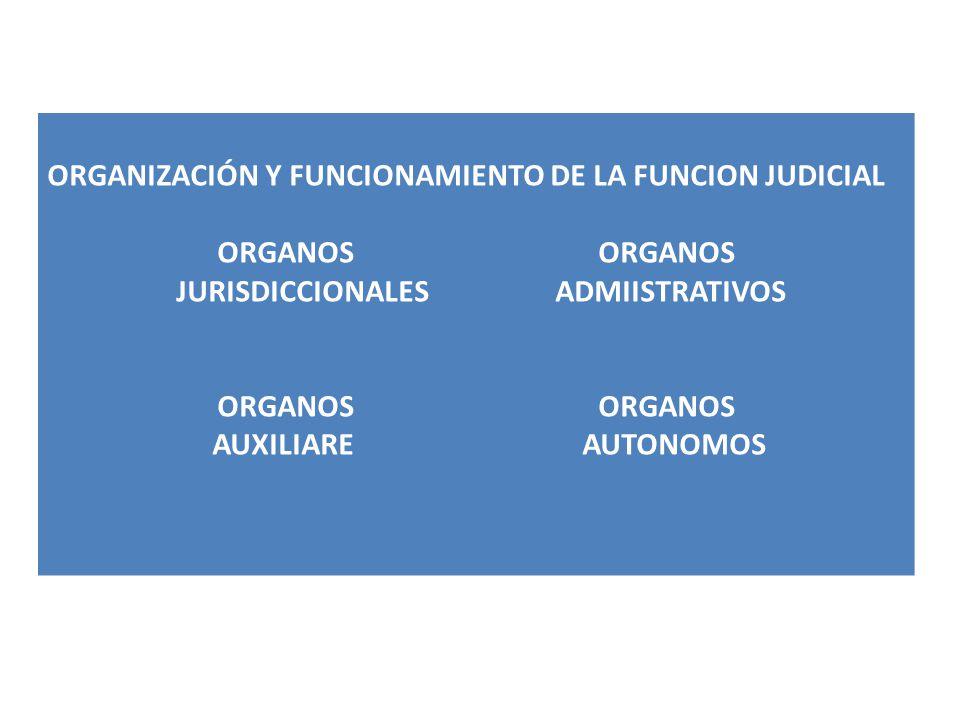 ORGANIZACIÓN Y FUNCIONAMIENTO DE LA FUNCION JUDICIAL