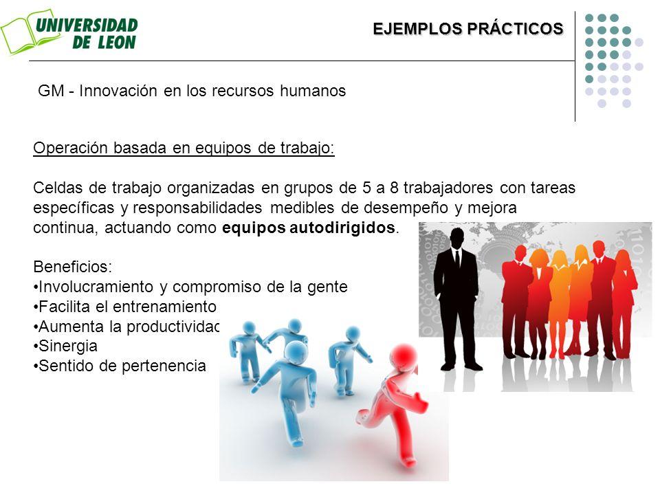 EJEMPLOS PRÁCTICOS GM - Innovación en los recursos humanos. Operación basada en equipos de trabajo: