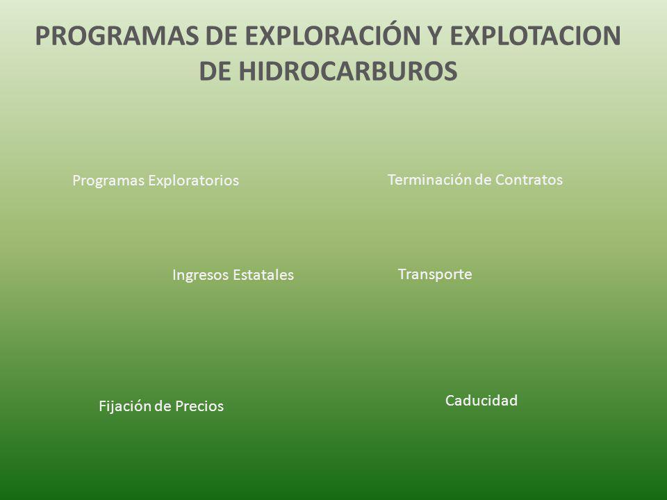 PROGRAMAS DE EXPLORACIÓN Y EXPLOTACION DE HIDROCARBUROS