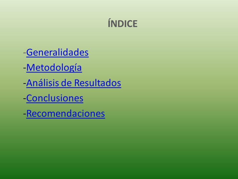 ÍNDICE Generalidades Metodología Análisis de Resultados Conclusiones Recomendaciones