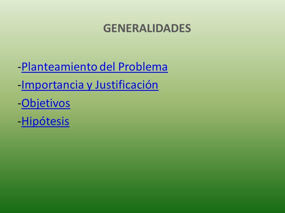 GENERALIDADES Planteamiento del Problema Importancia y Justificación Objetivos Hipótesis