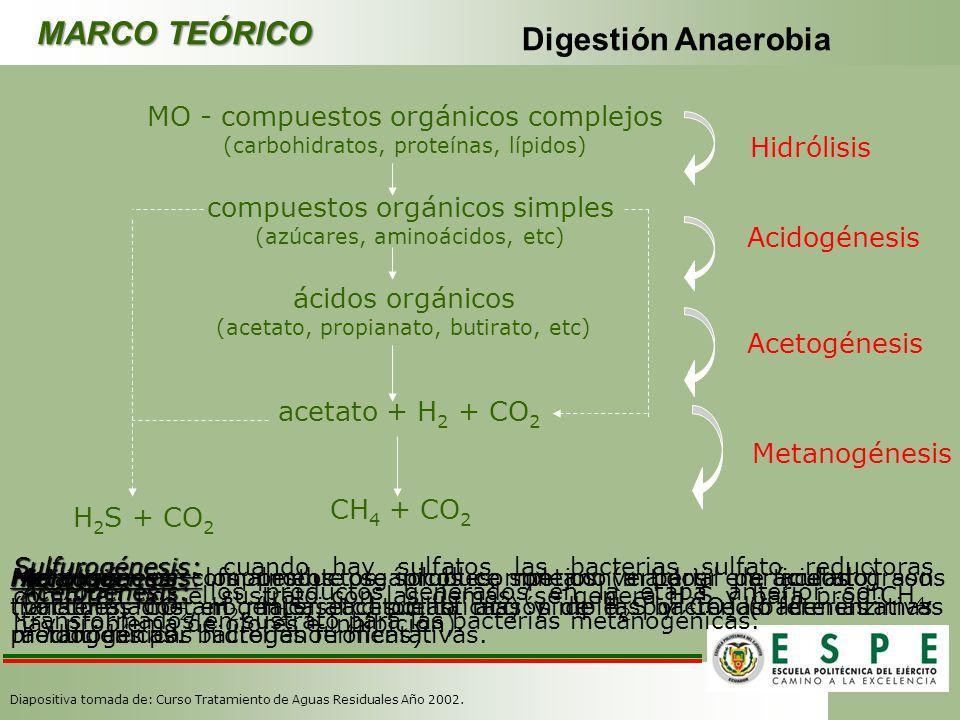 MARCO TEÓRICO Digestión Anaerobia MO - compuestos orgánicos complejos