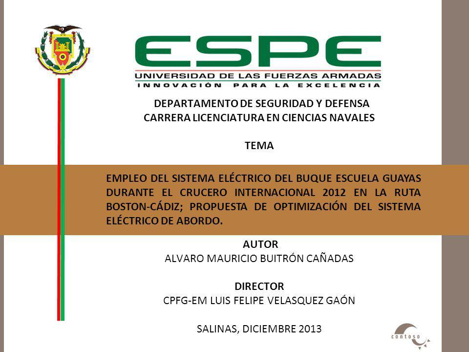 DEPARTAMENTO DE SEGURIDAD Y DEFENSA CARRERA LICENCIATURA EN CIENCIAS NAVALES TEMA AUTOR ALVARO MAURICIO BUITRÓN CAÑADAS DIRECTOR CPFG-EM LUIS FELIPE VELASQUEZ GAÓN SALINAS, DICIEMBRE 2013