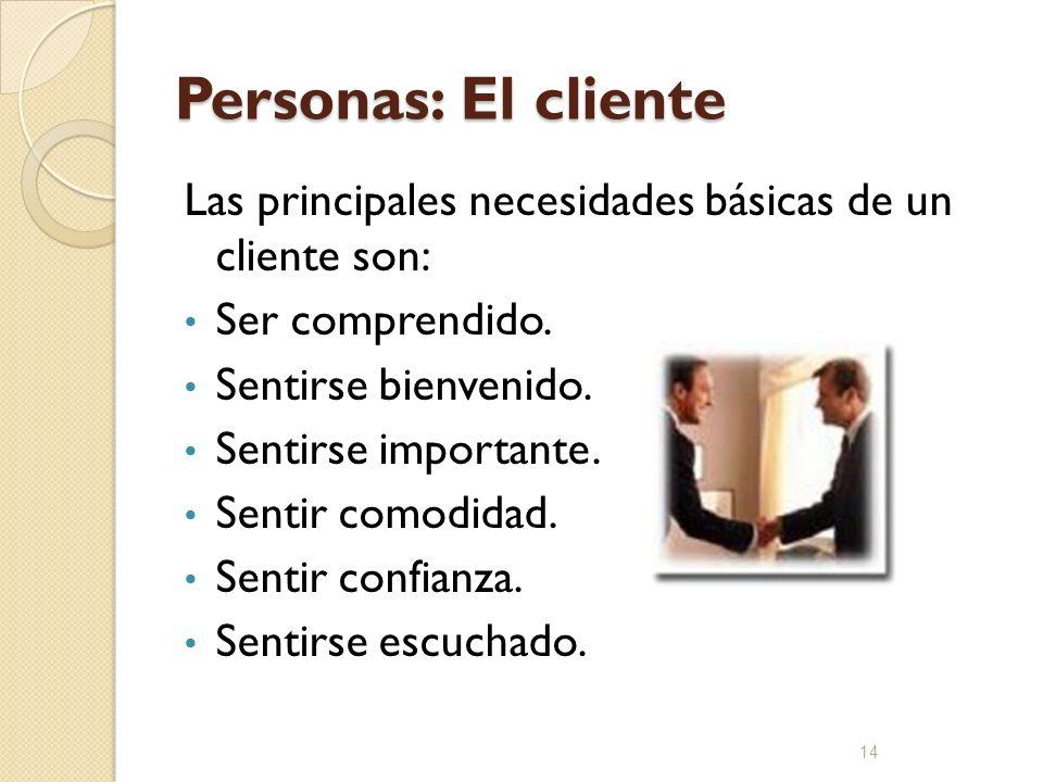 Personas: El cliente Las principales necesidades básicas de un cliente son: Ser comprendido. Sentirse bienvenido.