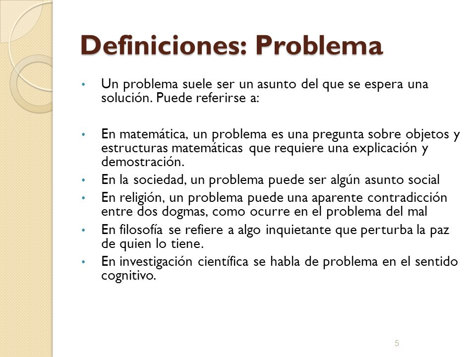 Definiciones: Problema