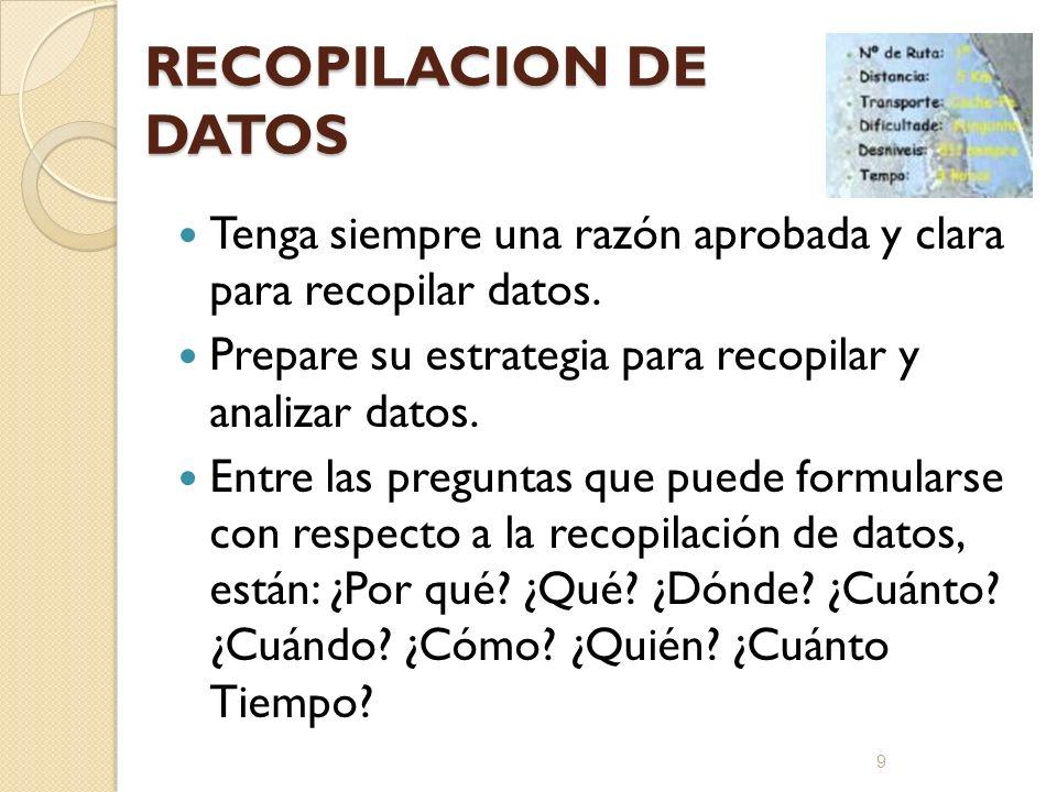 RECOPILACION DE DATOS Tenga siempre una razón aprobada y clara para recopilar datos. Prepare su estrategia para recopilar y analizar datos.