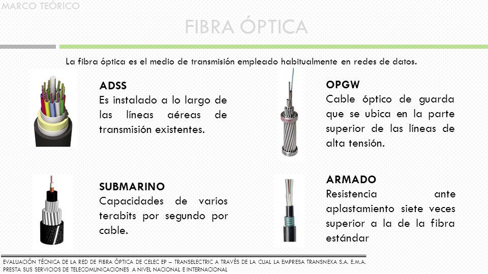 MARCO TEÓRICO FIBRA ÓPTICA. La fibra óptica es el medio de transmisión empleado habitualmente en redes de datos.