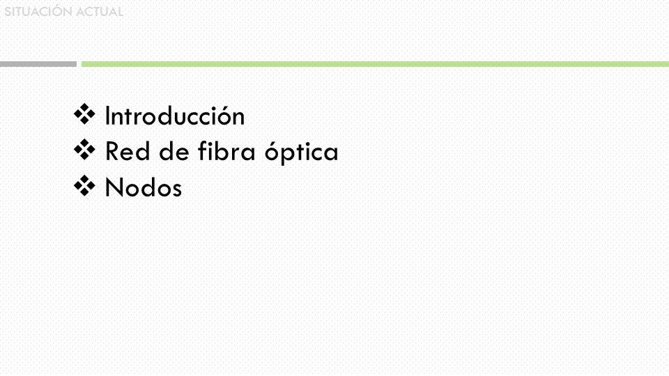 SITUACIÓN ACTUAL Introducción Red de fibra óptica Nodos