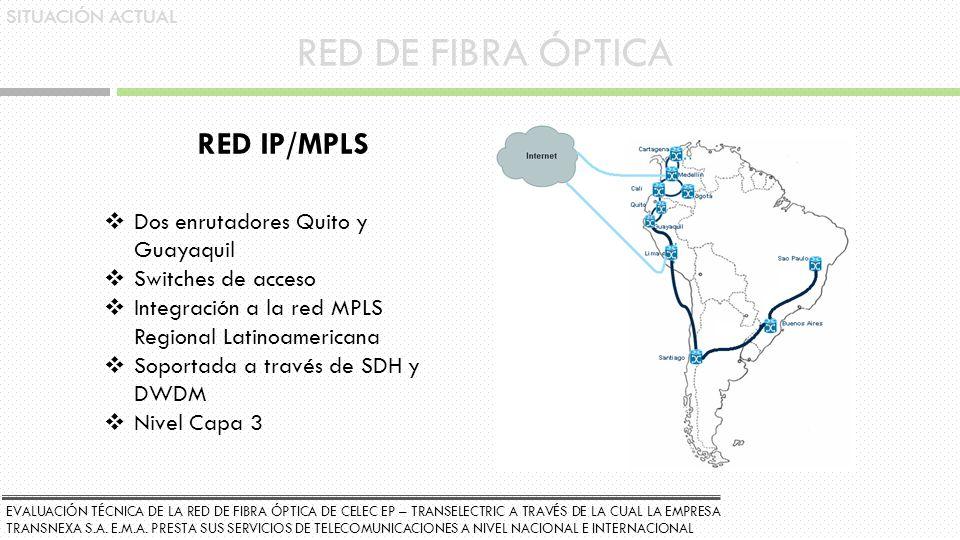 RED DE FIBRA ÓPTICA RED IP/MPLS Dos enrutadores Quito y Guayaquil