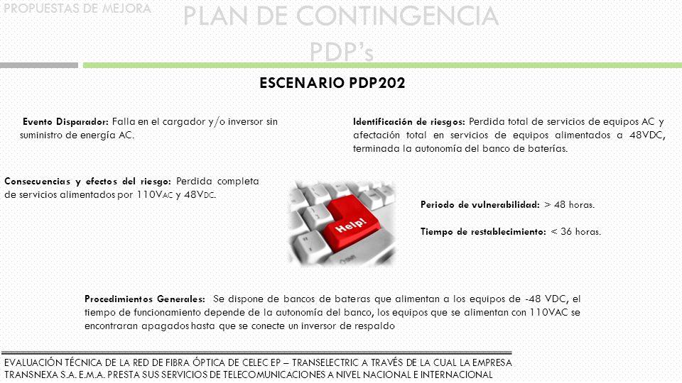 PLAN DE CONTINGENCIA PDP's ESCENARIO PDP202 PROPUESTAS DE MEJORA
