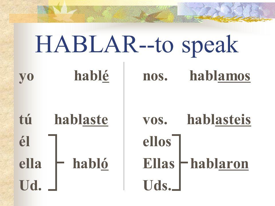 HABLAR--to speak yo hablé tú hablaste él ella habló Ud. nos. hablamos