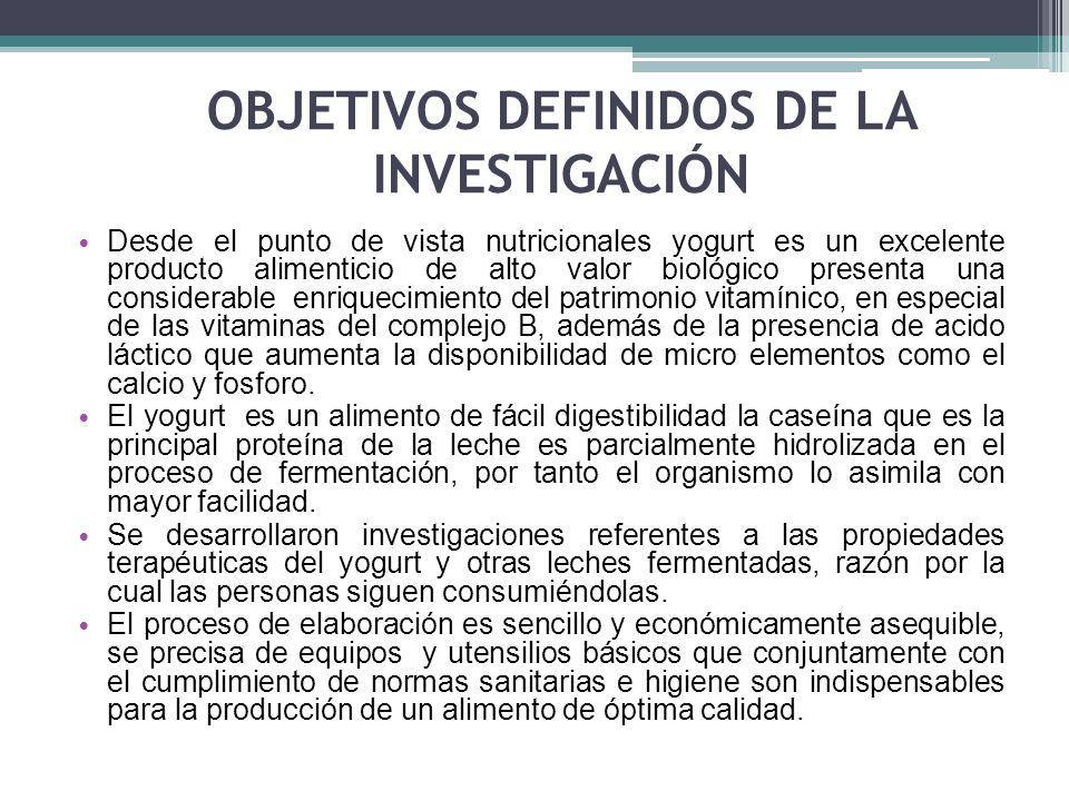 OBJETIVOS DEFINIDOS DE LA INVESTIGACIÓN