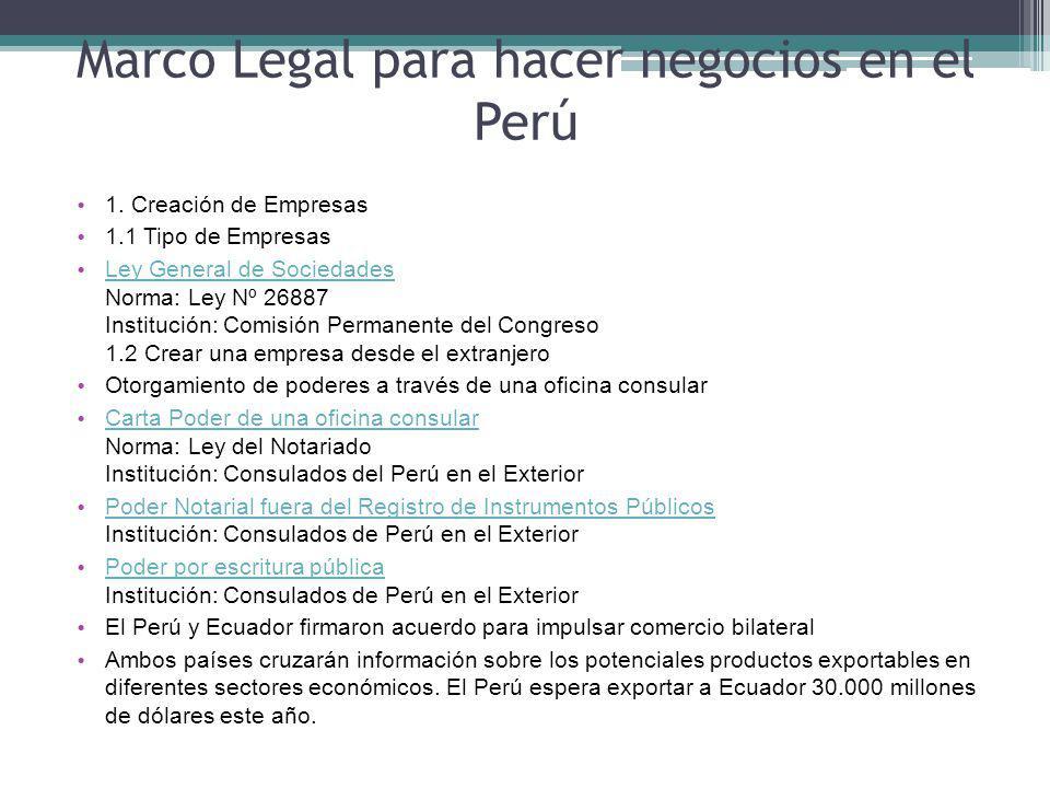 Marco Legal para hacer negocios en el Perú